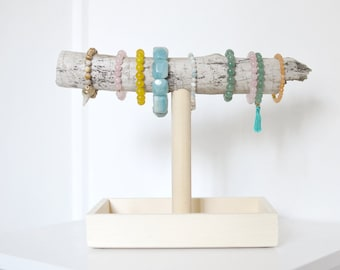 Driftwood Bracelet Stand Holder Display with Tray