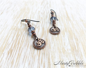 Smokey Blue Glass Om Earrings, Copper Ohm Earrings, Long Dangle Earrings, Czech Glass Earrings, Mixed Metal Earrings, Earthy Boho Jewelry