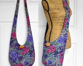 Hobo Bag Boho Bag Cross Body Bag Hippie Purse Sling Bag Hobo Purse Bohemian Purse Floral Hobo Bag Slouchy Bag Knit Fabric Purse Handmade Bag