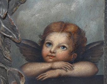 Antique Angel with Wings Oil Painting in Brass Frame