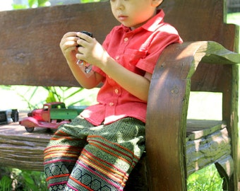 Cotton Batik Boho Childrens Pants / Boys Or Girls Trousers In Hmong Batik, Hippie Kids - Cameron Free Shipping