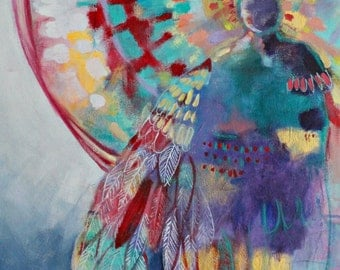 "Angel Painting, Colorful Modern Figure Art, Spirit Guide, ""Hope Wandering"" 18x24"""
