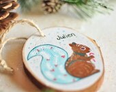 personalized kid ornament. squirrel ornament. baby boy christmas ornament. animal ornament. gift for kid. tree slice ornament. holiday gift.