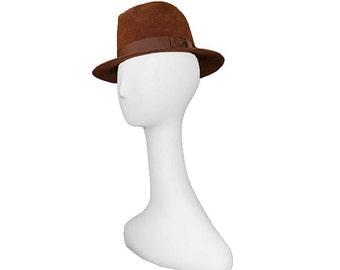 Mens Fedora, Brown Hat, Wool Felt, Bollman Hats, Vintage 1960s