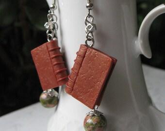 Antique Book Charm Earrings, Polymer clay earrings, Book miniature earrings, Realistic mini books, Natural gemstones, Polymer clay miniature