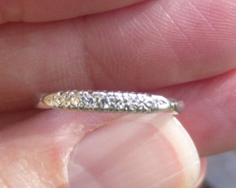 Art Deco Vintage Deco .10 Ct Diamonds Platinum Engagement Ring Wedding Band Stacker band