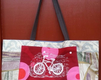 Tote bag handmade with upcycled upholstery fabric samples pockets washable ooak one of a kind ecofriendly reusable shopping bags farmers mkt