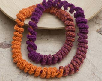 Long chunky necklace in orange and purple Crochet skinny scarf, spiral loop necklace, fiber statement jewelry