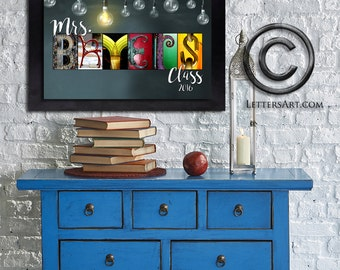 Teacher Personalized Custom Gift Ideas - Framed or Print Only- Letter Art Alphabet Photos - Free Shipping and Free Proof -