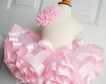 Light Pink Ribbon Trim Tutu - Pink Birthday Tutu - Princess Tutu - Princess Costume - Ballerina Tutu - Smash Cake - Blush Tutu - Pale Pink