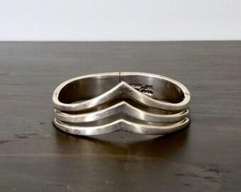 Vintage Bracelet Taxco 925 Silver Mexican Chevron Modernist Cuff Box Clasp