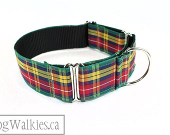"Buchanan Clan Tartan Dog Collar / 1.5"" (38mm) Wide / Red, Yellow and Green Plaid / Martingale or Side Release / Choice of style and size"