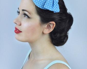 Retro 1950s Style Bow Fascinator in Polka Dot Print