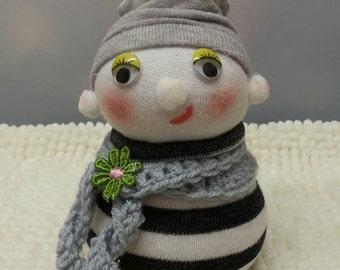 "6"" Sock Doll, Ornamental Doll, One of a Kind, Fantasy Doll, Sock People. Fancy Sock Dolls. FREE UK DELIVERY"