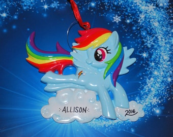 My Little Pony Rainbow Dash with Clouds Christmas Ornament