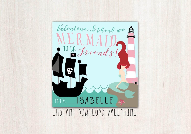 Mermaid Pirate Valentines - DIY Print - INSTANT DOWNLOAD