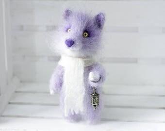 Lavender adventurer, Needle felted OOAK toy wolf