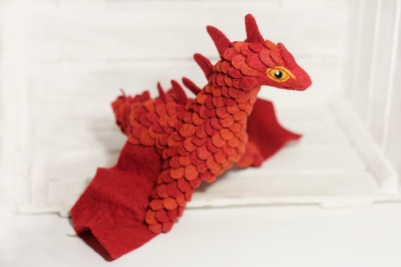 Red wyvern Needle felted dragon toy Fantasy dragon figurine