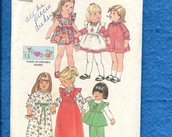 Vintage 1975 Simplicity 7197 Pinafore and Sun Dresses for Little Girls Size 1 Toddler