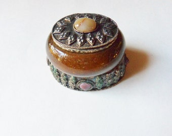 Ornate Silver and Glass Trinket Box with Semi-Precious Stones, Handmade Jeweled Snuff Box from India, Hinged Glass Box