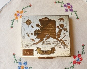 Souvienir Alaska Compact, Silver and Gold State Compact, Mid Century Powder Compact