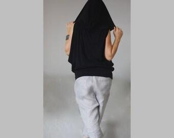 Hoodie T- Shirt/  Loose Wide Hoodie / Tank Top Hooded Shirt Top / Sleeveless Loose Black Hoodie/ Plus Size Made to Measure Hoodie/ CH011-1