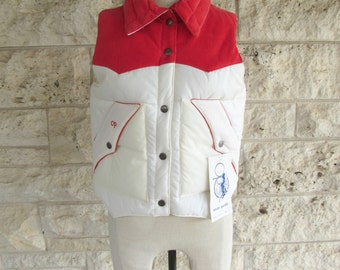 Ocean Pacific Vest 90s Winter Jacket Red Corduroy Ocean Pacific Winter Wear Ski Vest Small OP Deadstock