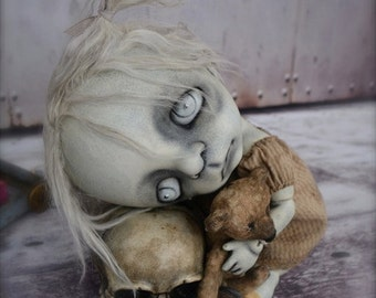 Giclee Fine Art Print. Dark Alley BJD Art Doll. Child with a Skull. Girl Doll.