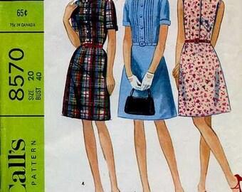 Cute 60s Summer Dress Pattern McCalls 8570 Size 20 Uncut