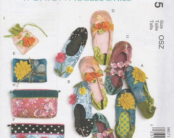 Slippers, Jewelry Pouch, Zippered Bags Pattern McCalls 6715 Uncut