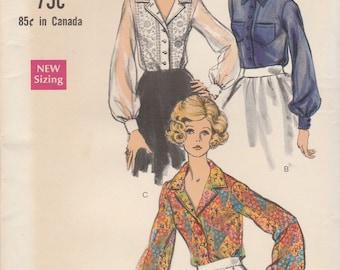 60s Long Sleeve Blouse Pattern Vogue 7686 Size 10