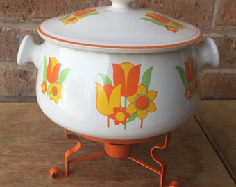 1970's Bright Floral Bean Pot Warmer with Orange Stand
