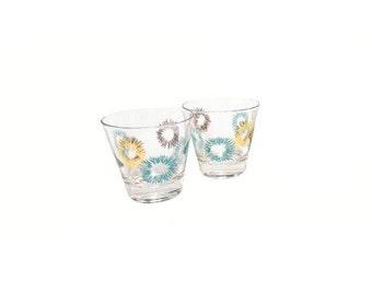 Vintage Starburst Cocktail Drink Glasses, Mid Century Modern Barware