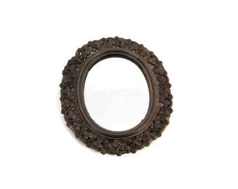 Vintage Antique Brass Mirror Wall Hanging Made in Italy Framed Mirror Oval Design Ornate Filigree Art Nouveau Italian Bronze Decor