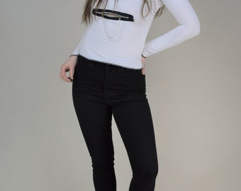 90s White Semi Sheer Scoop Neck Zipper Front T Shirt Top XS
