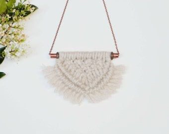 Handmade woven necklace | long macrame necklace | one of a kind gift for her | long or short chain | boho fashion necklace | yarn necklace
