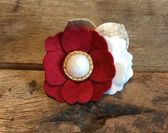 Red, White, and Gold Felt Flower Headband/Christmas Flower Headband/Baby Headband/Photo Prop