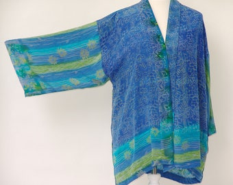 Stunning Printed  Silk Jacket in Luscious Shades of Greens and Blues