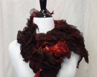 Felted merino wool scarf in dark red lightweight shawl made in usa, wet felted and nuno felted scarf, handmade boho shawl with italian silk.