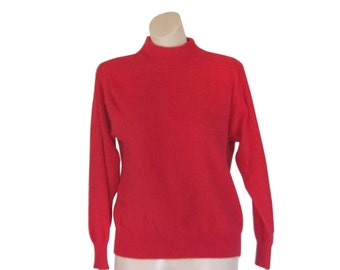 Red Sweater Angora Sweater Mock Neck Sweater Wool Sweater Women Christmas Sweater Holiday Sweater High Neck Shirt Ladies Sweater Vintage