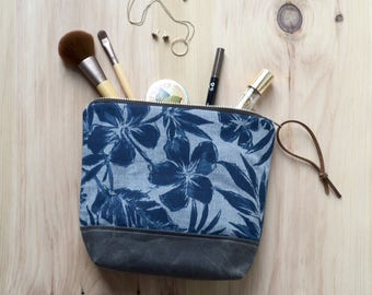 Cosmetic Bag in Hibiscus with Waxed Canvas - Zipper Clutch