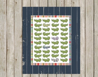 alligator nursery, alligator art, wall art, boy's room decor, preppy alligator, madras print, alligator wall decor, kid's bathroom decor