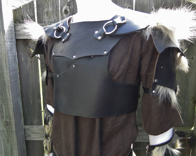 Leather Armor Chest, Back & Shoulders - Black Leather w/ Fur - LARP, Renaissance Fair, Mens M-L