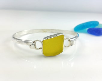 Classic Sea glass Bracelet, Sterling Silver, Classic, Sea Glass, Yellow Sea Glass