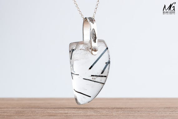 Pinned Tourmalated Quartz Necklace in Sterling Silver with Feathers