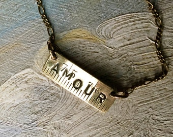 Amour Necklace. Writing, love, tape measure, french, antique reconstructed, vintage assembled, repurp
