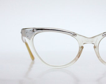 Vintage 50's Engraved Aluminum Cat Eye Glasses