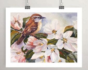 Bird print wren watercolor pink apple blossoms unframed wall art by Janet Zeh Original Art