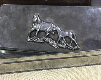 Hand Crafted USA Pewter Box with Lid/Horse Collector Pewter Trinket Box/Rustic Pewter Lidded Box