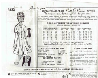 60s Pleated Dress Pattern Patt-O-Rama 8123. V-Neck, Short Sleeve, Button Front, Fit and Flare Dress Ruffled Neckline Option. Size 16 Bust 36